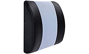 The White Willow Urban Voyager Big Lumbar Memory foam Backrest/Back Support Comfort Cushion. Works as a Multipurpose car seat and Office chair cushion for sitting comfort to provide relief from back & neck pain and align the spine to ease lower back pain. Comes in a Multi-design Removable outer cover with Black on Sky blue