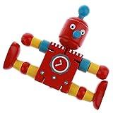 Baoblaze 1pcs Hölzerne Roboter Modell Holzpuppe mit Flexible Gelenke, Kinderspielzeug Festivalgeschenk und Dekoration - Rot
