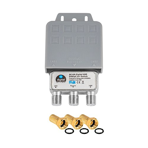 1x DiseqC Schalter Switch 2/1 mit Wetterschutzgehäuse HB-DIGITAL 2x SAT LNB 1 x Teilnehmer / Receiver für Full HDTV 3D 4K UHD + 3 x Vergoldete F-Stecker Vergoldet