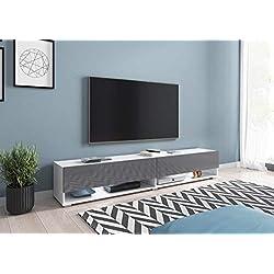 Selsey Wander - Meuble TV Suspendu/Banc TV avec LED (180 cm) (Blanc Mat/Gris Brillant)