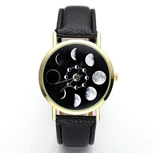 JSDDE Orologio da polso, Fashion donna eclissi lunare-modello orologio da polso orologio da donna cinturino in pelle non-scala paragrafo Analog orologio al quarzo, Nero