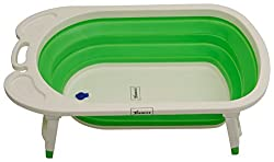 Haneez Bath Tub with Outlet to Drain Water for Infant, Kids and Children, Portable, Compact, Foldable, Premium, Green and White