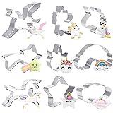 TUPARKA 9 Pezzi formine per Biscotti Unicorno Stampo in Acciaio Inossidabile Set di Strumenti di Cottura, formina per Biscotti Unicorno formina per Bambini(2.4-3.5 Pollici)