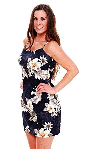 Pacific Legend | Original Hawaiikleid | Damen | S - XXL | Sommer | Hawaii-Print | Blumen | Dunkelblau Dunkelblau