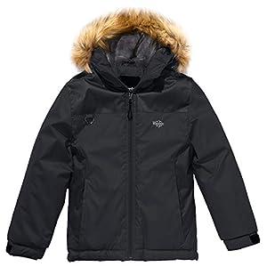 Wantdo Jungen Wasserdichte Skijacke Winterjacke Fellkapuze Jacke mit Fleecefutter Regenjacke mit reflektierenden Streifen