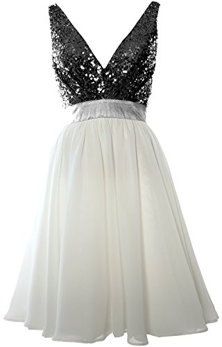 MACloth Women V Neck Sequin Cocktail Dress Vintage Short Formal Prom Party Gown Black-Ivory