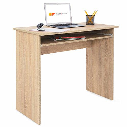 COMIFORT T01S - Escritorio con Bandeja extraíble, Mesa de Ordenador para Oficina o hogar, Acabado melamina Color Roble, 90x50x77 cm
