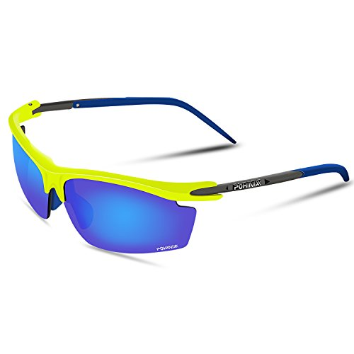 POHINIX Sport Fietsen Running gepolariseerde zonnebril UV400 Beschermende bril voor mannen en vrouwen in fietsen Ski vissen Golf, Fluorescerende geel-blauw