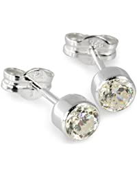 Silberdream Damen-Ohrstecker Zirkonia Weiß 925 Silber Sdo503W