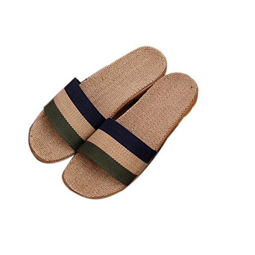 TELLW Solid Color Velluto Corallo Ispessimento Caldo Pavimento in Legno Pantofole Invernali e Pantofole da Donna e da Uomo all'aperto di Cotone Verde