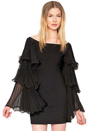 PU&PU Robe Aux femmes Ample Vintage,Couleur Pleine Col Arrondi Au dessus du genou Polyester BLACK-L