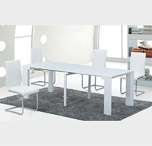 Sararreda Table Design Extensible et Repliable, en Bois laqué Blanc, pour Cuisine, Salon, Bureau