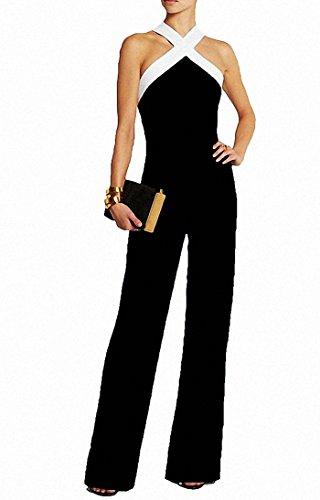Damen Schwarz Festlich Elegant Rot Jumpsuit Gürtel Ärmellos breit Bein Overall Catsuit Clubwear (Jumpsuit Schwarzer)
