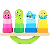 Baby Bucket Wooden Stacking Toys with Geometry Shape Stacking Blocks & Stacker, Stacking