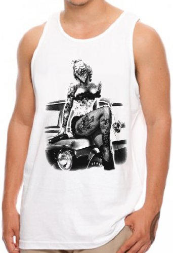 OM3 - Marilyn Monroe - TATTOO BITCH - Tank Top STAR HOLLYWOOD LEGEND NY EMO USA, S - 4XL Weiß