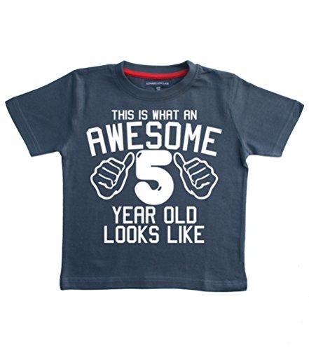 Dieses wie eine tolle 5 Jahre alt, sieht aus wie Navy Jungen zum 5. Geburtstag, T-shirt In Größe 104-110 mit weißem Print (Alt Wie Aus Sieht T-shirt)
