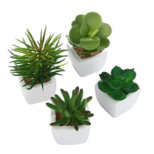 lich Bonsai Set 4 Stücke Faux Sukkulenten Mini Bonsai Pflanze Künstlich Deko Pflanzen Künstlich im Topf Weiß Keramik(Größe A). ()