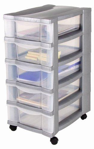 Rollcontainer, Schubladenschrank, Bürocontainer, Rollwagen, Werkzeugschrank, Schubladenwagen – mit 5 transparenten Schubladen und 4 Leichtlaufrollen zum einfachen Bewegen