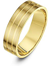 Theia Super Heavy Weight Flat Shape Matt with Two Polished Grooves 9 ct Gold Wedding Ring