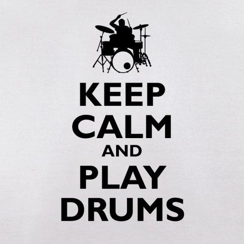 Keep Calm and Play Drums - Herren T-Shirt - 13 Farben Weiß