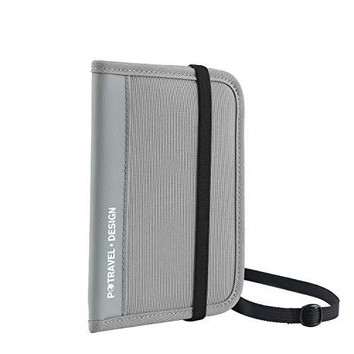 RFID Travel Passport Wallet, Crossbody Wallet Purse with Removable Strap (PTRAVEL Series), Travel Documents Organizer, Bifold Zipper Wallet, 13 Pockets (Gray) (Travel Document Wallet)