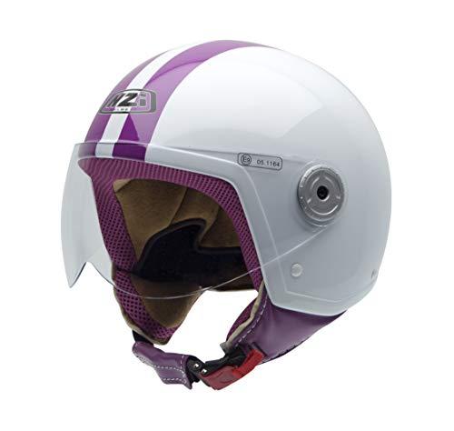 NZI 150251G325 Vintage II Classic White/Pink, Casco da Moto, Bianco/Rosa, Taglia S