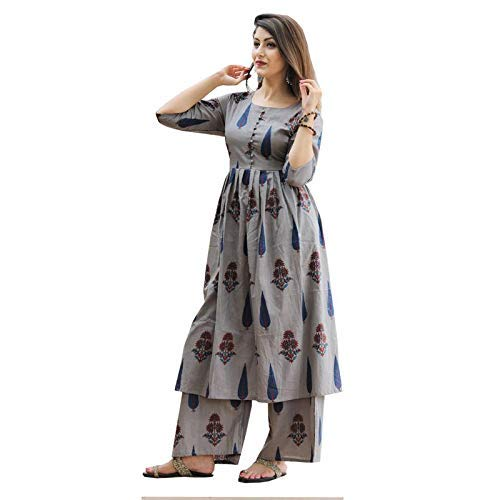 ANNIE FASHIONS Women's Cotton Printed Kurti Palazzo Set
