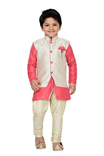 AJ Dezines Kids Kurta Pyjama Waistcoat Set for Boys (1210_PINK_14)