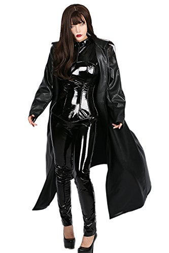 Halloween Selene Kostüm Underworld (Damen Cosplay Kostüm Sexy Bodysuit Lady Catsuit Schwarzes PU Leder Outfit Karnevals Fancy Dress)