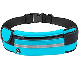 YHLCSQ Runners Running Belt for iPhone 7 X 8 6 Plus Men Women Phone Holder Pouch Waist Pack Bag for Workout Fitness Walking Marathon Invisible Money Belt (blue)