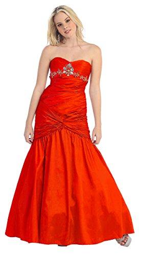 Nachtigall+Lerche Abendkleiderlang Abi-Ballkleider Brautkleider bodenlang Meerjungfrau Stil Brautjungfernkleid Brautmutterkleid für Hochzeitsgast TAFT rot Gr.38 (Stil Meerjungfrau Brautkleid)