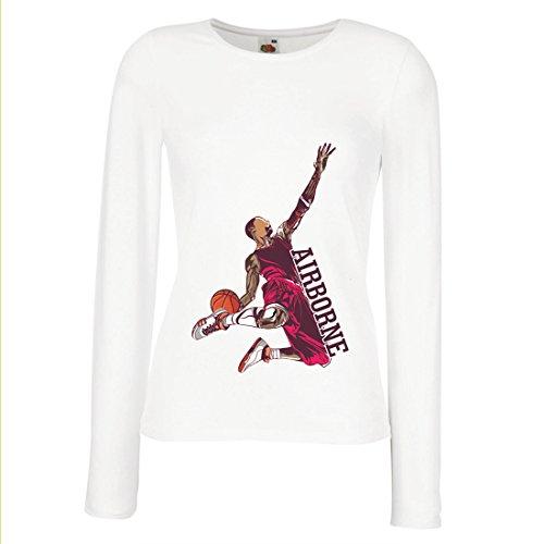 Weibliche Langen Ärmeln T-Shirt Sei der Herr der Schwerkraft, Basketball Freestyle Dunk - Ich Liebe Dieses Spiel (Medium Weiß - James Lebron Halloween