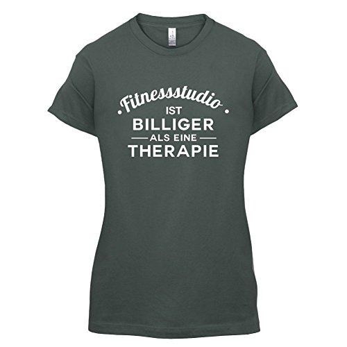 Fitnessstudio ist billiger als eine Therapie - Damen T-Shirt - 14 Farben Dunkelgrau