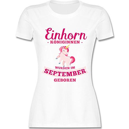Geburtstag - Einhorn Königinnen Wurden IM September Geboren - Damen T-Shirt Rundhals Weiß