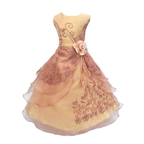 Lantra Besa Mädchen Prinzessin Kleid Festlich Abendkleid Festkleid für Hochzeit Blumenmädchen Theater Geburtstag Party Ärmellos in Vielen Farben und Größen Midi bis Maxi Lang Typ 1 - Rosa-Gold, 120