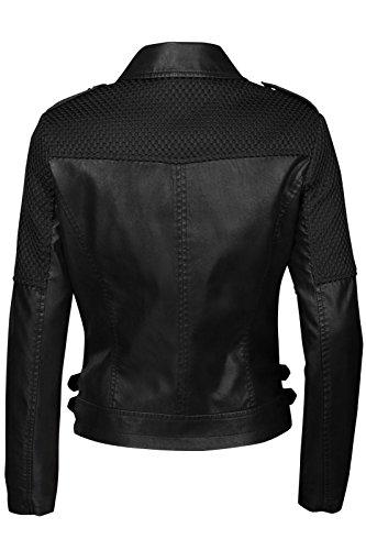 Trisens Damen Jacke Biker KURZ Motorrad Jacke Kunstleder PU, Farbe:Schwarz, Größe:S - 5