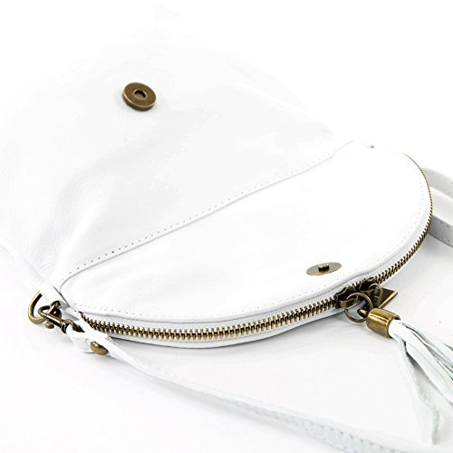 modamoda de - ital. Ledertasche Clutch Umhängetasche Unterarmtasche Klein Nappaleder T07 Weiß