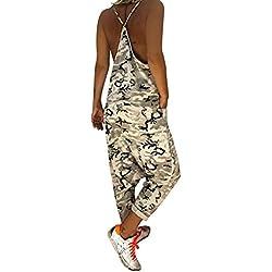 Tomwell Salopette Bretelles Femme Grande Taille Combinaisons de Playsuit Militaire Camouflage Jumpsuit A Blanc FR 44