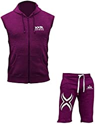 A pair of XXR Sleeveless Fleece hood & XXR X1 Fleece Shorts Exercise Fitness Boxing MMA Gym Sweat Fleece Trousers and hoodie (Maroon)