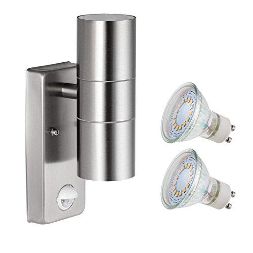 SEBSON Aussenleuchte mit Bewegungsmelder, Wandleuchte, Edelstahl, up down, inkl. 2x GU10 LED Lampe 4W (3,5W) kaltweiß