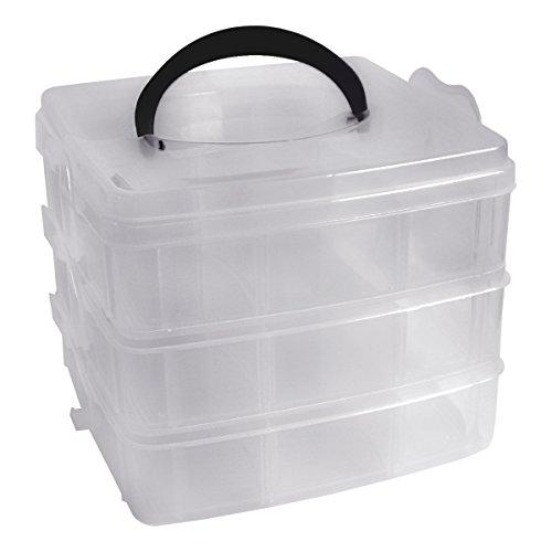 3-stöckige Transparente Sortierbox Aufbewahrungsbox von Kurtzy - 6 Verstellbare Fächer Jede Stufe - Für Schmuck wie Ohrringe, Halsketten - Starker, Stapelbarer, Abschließbarer Behälter mit Deckel Bulk Kunststoff-juwelen