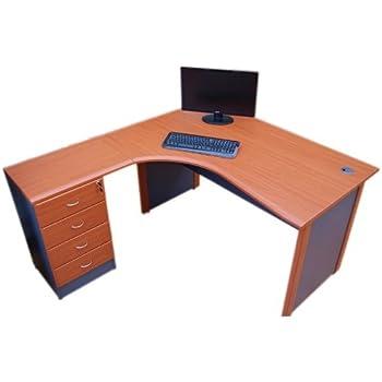 Computer Corner desk left hand with Storage cabinet Cherry dark