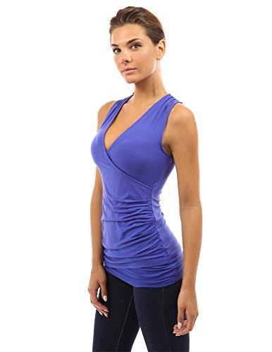 PattyBoutik ärmelloses Damen Bluse mit Rüschen und V-Ausschnitt helle blaue