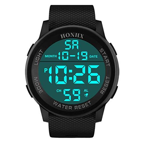 Dorical Wasserdichte Sportuhr für Herren mit PU-Kunststoffband, HONHX Digitale Quarz Armbanduhr, Outdoor Mode Sport LED Armbanduhr mit Countdown Stoppuhr Kalender Alarm für Männer(Schwarz-1)