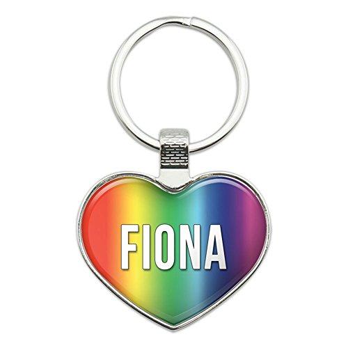 Metall Schlüsselanhänger Ring Rainbow I Love Herz Namen weiblich F Fabi Fiona