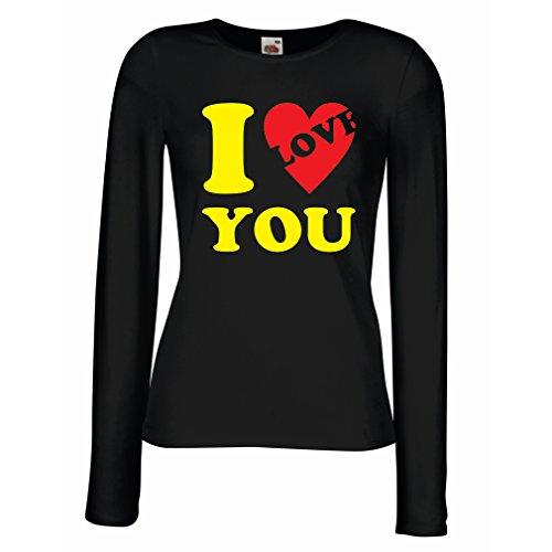 Weibliche langen Ärmeln T-Shirt Ich liebe dich! - Valentinstag Geschenke (XX-Large Schwarz (Fünf Ideen Kostüm Minute)