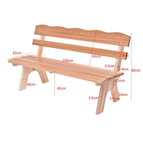 Costway 3 Seater Garden Bench — 350 Kg Capacity Patio Wooden Seat Chair Wood Park Furniture Out/Indoor