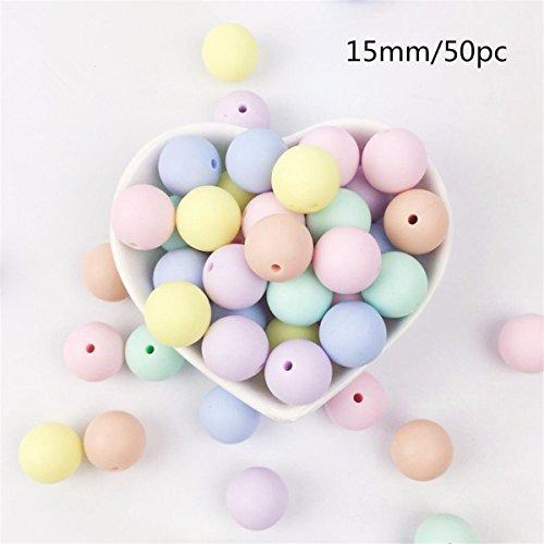 Preisvergleich Produktbild Mamimami Home Silikon bördelt runde Süßigkeitfarbe 15mm 50PC Babyteether Zusätze Säuglingshalsketten-hängendes DIY Krankenpflegearmband scherzt Korne