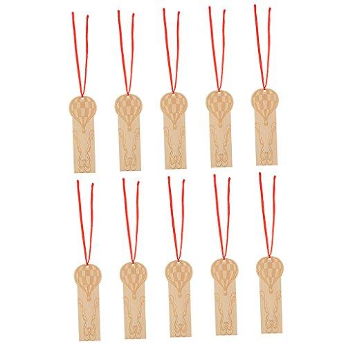 (MagiDeal 10 Stück Hölzerne Holz Geschenk Anhänger Hängeetiketten Etiketten Labels Anhänger Dekoration Basteln - Heißluftballon Muster)