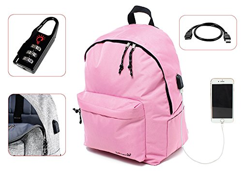 Preisvergleich Produktbild Leonardo Rucksack Casual Klassische Gepolsterte portaPC mit Taschen und Stecker USB,  24 l für Schule,  Wandern und Reisen. Tetto Curvo Rosa scuro